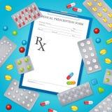 Manifesto del fondo medico di prescrizione del farmaco Fotografie Stock Libere da Diritti
