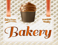 Manifesto del forno Illustrazione di vettore del muffin Fotografie Stock