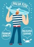 Manifesto del fumetto dei frutti di mare illustrazione di stock