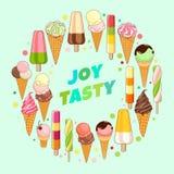 Manifesto del gelato Gelato brillantemente colorato, coni della cialda, ghiaccioli su un bello fondo Illustrazione del fumetto Fotografia Stock