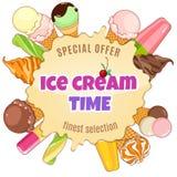 Manifesto del gelato Gelato brillantemente colorato, coni della cialda, ghiaccioli su un bello fondo Illustrazione del fumetto Fotografie Stock