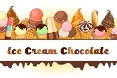 Manifesto del gelato Gelato brillantemente colorato, coni della cialda, ghiaccioli su un bello fondo Illustrazione del fumetto Fotografie Stock Libere da Diritti