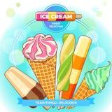 Manifesto del gelato Gelato brillantemente colorato, coni della cialda, ghiaccioli su un bello fondo Illustrazione del fumetto Immagini Stock