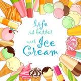 Manifesto del gelato Gelato brillantemente colorato, coni della cialda, ghiaccioli su un bello fondo Illustrazione del fumetto Fotografia Stock Libera da Diritti