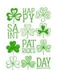Manifesto del giorno di St Patrick con le acetoselle di scarabocchio immagine stock