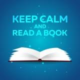 Manifesto del libro Tenga la calma e legga un libro Libro aperto con luce intensa mistica su fondo blu Illustrazione di vettore Immagini Stock Libere da Diritti