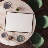 Manifesto del modello su un tavolo da pranzo fatto di marmo Vista da sopra 3d illustrazione vettoriale