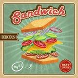 Manifesto del panino del salame Fotografie Stock Libere da Diritti