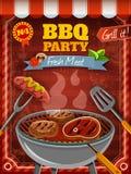 Manifesto del partito del barbecue illustrazione di stock