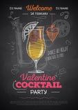 Manifesto del partito del biglietto di S. Valentino del cocktail del disegno di gesso Immagini Stock