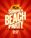 Manifesto del partito della spiaggia di estate Fotografia Stock