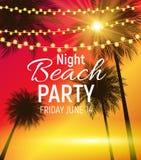 Manifesto del partito della spiaggia di notte di estate Wi tropicali dello sfondo naturale Fotografie Stock Libere da Diritti