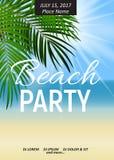 Manifesto del partito della spiaggia di notte di estate Wi tropicali dello sfondo naturale Immagini Stock Libere da Diritti