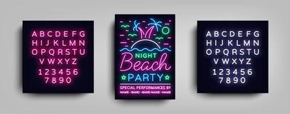 Manifesto del partito della spiaggia di notte Partito di estate, aletta di filatoio al neon di stile, Palm Beach, modello musical Fotografia Stock Libera da Diritti