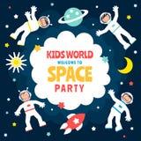 Manifesto del partito dello spazio dei bambini s Fotografie Stock Libere da Diritti