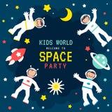 Manifesto del partito dello spazio dei bambini s Fotografia Stock