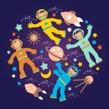 Manifesto del partito dello spazio dei bambini s Fotografia Stock Libera da Diritti