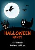 Manifesto del partito di Halloween con il gatto divertente Immagini Stock
