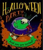 Manifesto del partito di Halloween con il vaso della pozione Fotografia Stock