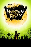 Manifesto del partito di Halloween con la Camera frequentata Immagine Stock Libera da Diritti