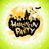 Manifesto del partito di Halloween con la luna Immagini Stock Libere da Diritti