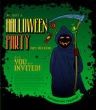 Manifesto del partito di Halloween con la morte sorridente Fotografia Stock Libera da Diritti