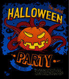 Manifesto del partito di Halloween con la zucca che allunga i tentacoli Fotografia Stock Libera da Diritti
