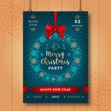 Manifesto del partito di notte del buon anno e di Natale Invito di natale Immagini Stock Libere da Diritti