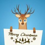 Manifesto del personaggio dei cartoni animati della renna di Buon Natale Fotografia Stock