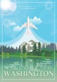 Manifesto dell'americano di vettore di Washington Illustrazione di viaggio di U.S.A. Carta degli Stati Uniti d'America con il lag illustrazione vettoriale