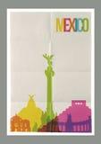 Manifesto dell'annata dell'orizzonte dei punti di riferimento del Messico di viaggio Immagini Stock Libere da Diritti