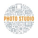 Manifesto dell'attrezzatura di fotografia con la linea piana icone Macchina fotografica digitale, foto, accendenti le videocamere Fotografia Stock