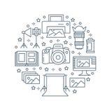 Manifesto dell'attrezzatura di fotografia con la linea piana icone Macchina fotografica digitale, foto, illuminazione, videocamer Immagini Stock