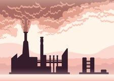 Manifesto dell'inquinamento ambientale Fumo da un camino della fabbrica Illustrazione di vettore con lo spazio della copia Immagine Stock