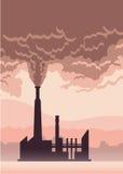 Manifesto dell'inquinamento ambientale Fumo da un camino della fabbrica Illustrazione di vettore con lo spazio della copia Fotografia Stock Libera da Diritti