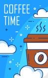 Manifesto dell'intervallo di pranzo con le nuvole e la grande tazza di caffè su fondo blu Linea sottile progettazione piana Vetto Fotografia Stock
