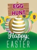 Manifesto dell'uovo di Pasqua Illustrazione di vettore ENV 10 Giorno felice di Pasqua Fotografie Stock