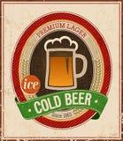 Manifesto della birra fredda dell'annata. Fotografia Stock Libera da Diritti
