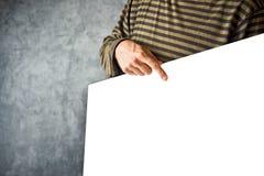 Manifesto della carta della tenuta dell'uomo come spazio della copia Immagini Stock Libere da Diritti