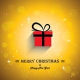 Manifesto della cartolina d'auguri di Buon Natale con il ico del regalo Fotografia Stock Libera da Diritti