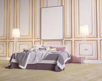 Manifesto della disposizione con la sedia e l'illustrazione interna del fondo 3D di minimalismo del tessuto più hippest royalty illustrazione gratis
