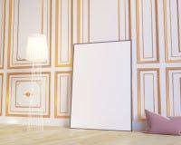 Manifesto della disposizione con la sedia e l'illustrazione interna del fondo 3D di minimalismo del tessuto più hippest illustrazione di stock