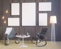 Manifesto della disposizione con la sedia e l'illustrazione interna del fondo 3D di minimalismo del tessuto più hippest illustrazione vettoriale