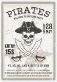 Manifesto della festa in costume dei pirati Fotografia Stock
