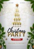 Manifesto della festa di Natale con il vetro dorato del champagne royalty illustrazione gratis