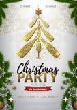 Manifesto della festa di Natale con il vetro dorato del champagne illustrazione di stock