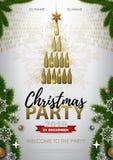 Manifesto della festa di Natale con le bottiglie dorate del champagne royalty illustrazione gratis