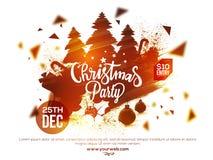Manifesto della festa di Natale, insegna o progettazione dell'aletta di filatoio Fotografie Stock