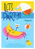 Manifesto della festa in piscina con i caratteri di nuoto su  Immagine Stock
