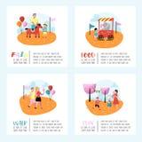 Manifesto della fiera di divertimento di estate, insegna, opuscolo Caratteri del parco di divertimenti con la gente del fumetto L Fotografie Stock